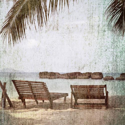 vintage palm trees background - 118153455