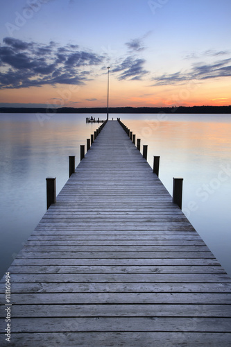 Plexiglas Pier Lake at Sunset, Long Wooden Pier
