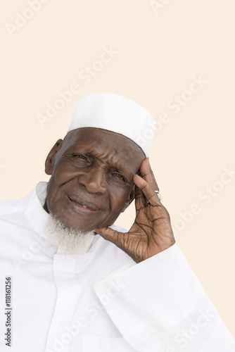 Portrait of an Eighty-year-old African man smiling Poster