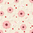 Vector seamless pattern with pink and white flowers, petals and berries on a beige sacking background.
