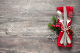 Fototapety Christmas table place setting