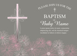 Girls Christening/Baptism Invitation with Cross and Pink Flowers - Vector - 118179077