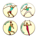Athlete Icon. Volleybal. Jevilin Throw. Pole Vault. Artistic Gymnastics. Summer games. Sport icons with sportsmen for competitions or championship design. Original 3D Illustration, gold, enamel, glass