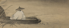pêcheur chinois dans un bateau