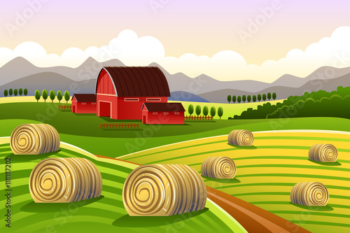 Fotobehang Boerderij Farm Scene with Rolled Hays