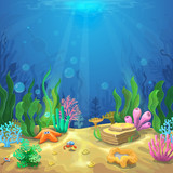 Underwater landscape. The ocean and the undersea world with different inhabitants, corals and starfish, marine life vector