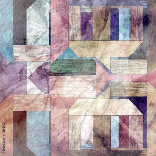 Obraz Abstract watercolor geometric background