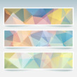 Horizontal banners set with colorful polygonal triangles. Polygon backgrounds