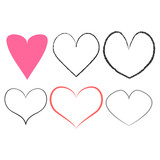 Heart doodle set, vector illustration hand drawn
