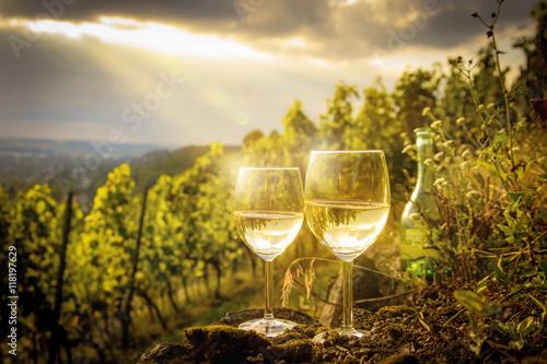 Leinwandbild Motiv Weißweingläser im Weinberg bei Sonnenuntergang