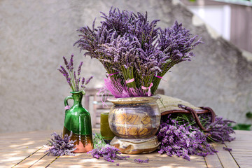 Bouquet of fresh lavender on the table