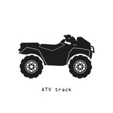 Fototapety Black silhouette of ATV on a white background