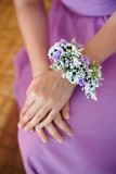 bridesmaid with boutonniere buttonhole at wedding day