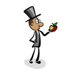 Isaac Newton looks at an apple