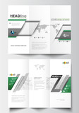 Tri-fold brochure business templates on both sides. Easy editable abstract layout in flat design. Back to school background with letters made from halftone dots, vector illustration