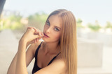 Beautiful young woman with straight hair