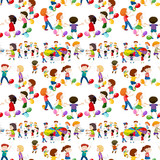 Seamless background with kids playing games