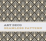 Fototapety Art Deco seamless pattern  black white and gold colours 03