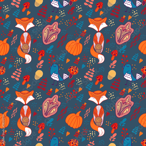 Cotton fabric Cartoon autumn pattern with fox, bird and leaves
