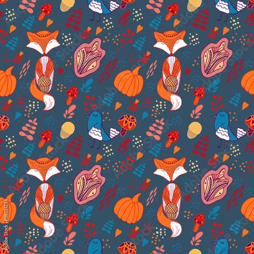 Materiał do szycia Wzór jesień kreskówka z fox, ptak i liści
