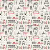 Vector seamless pattern background with hand drawn home furniture outline icons 6 - 118224078