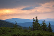 Sundown Sky and Mountains Range Landscape