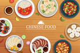 chinese food on a wooden background.Vector chinese food top view