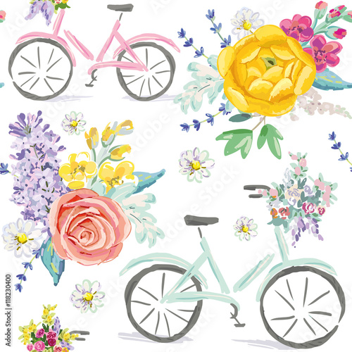 Materiał do szycia Pink and mint bicycles with bouquets of flowers on the white background. Cute illustration. Vector seamless pattern. Pastel colors. Rose, daisy, lilac, lavender, ranunculus.