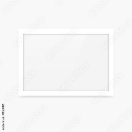 Simple clean white vector blank photo frame mockup with horizontal landscape orientation (3x2)