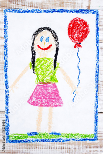 Poster colorful drawing: happy girl with balloon