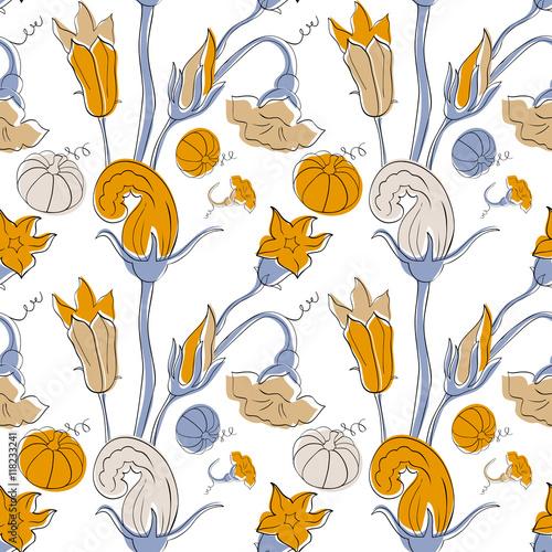 Pumpkin seamless pattern in Victorian style