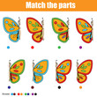 Matching children educational game with butterflies