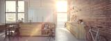 Fototapety Modern Design Luxurious Kitchen Interior. 3d rendering