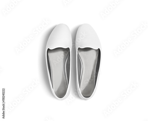 White blank women shoes mockup stand isolated, top view, clipping ...