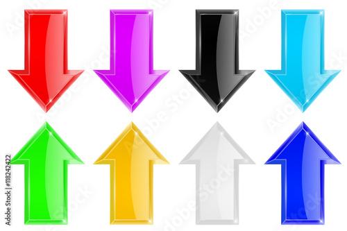 Shiny 3d arrows. Colored set - 118242422