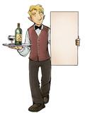 ilustracion camarero con carta