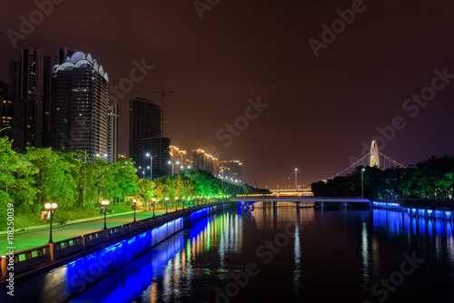 Amazing night view of the Pearl River in Guangzhou, China