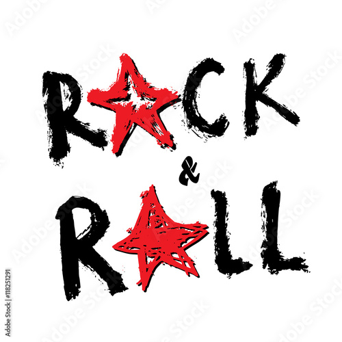 Keuken foto achterwand Vlinders in Grunge Music Rock and Roll Hand Drawn Lettering, Vector Illustration.