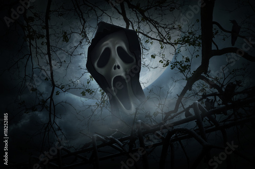 Poster Ghost scream with old fence over smoke, dead tree, crow, moon an