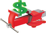 simbolo del dollaro stretto nella morsa