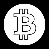 Bitcoin icon black and white vector illustration