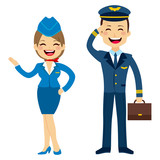 Flat style stewardess and pilot characters standing isolated on white background