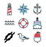 Marine sea icons vector set.