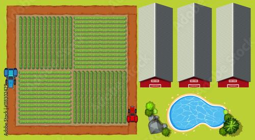 Foto op Aluminium Boerderij Aerial scene with farmland and barns