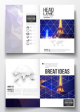Set of business templates for brochure, magazine, flyer, booklet or annual report. Dark polygonal background, blurred image, night city landscape, Paris cityscape, modern triangular vector texture