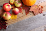 Apples and Sugar Maple Leaves Bordering Rustic Wood Background