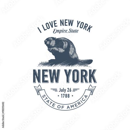 Нью-Йорк, стилизованная эмблема штата Америки, бобёр в синем цвете