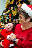Grandmother Holding Baby On Christmas