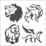 Lion head, griffin fyl bear tattoos and designs.