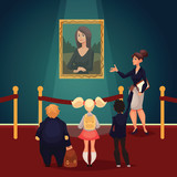 Kids in museum looking at classical work of art, cartoon style vector illustration. Museum guide telling children about a woman portrait. School trip to museum - 118331810